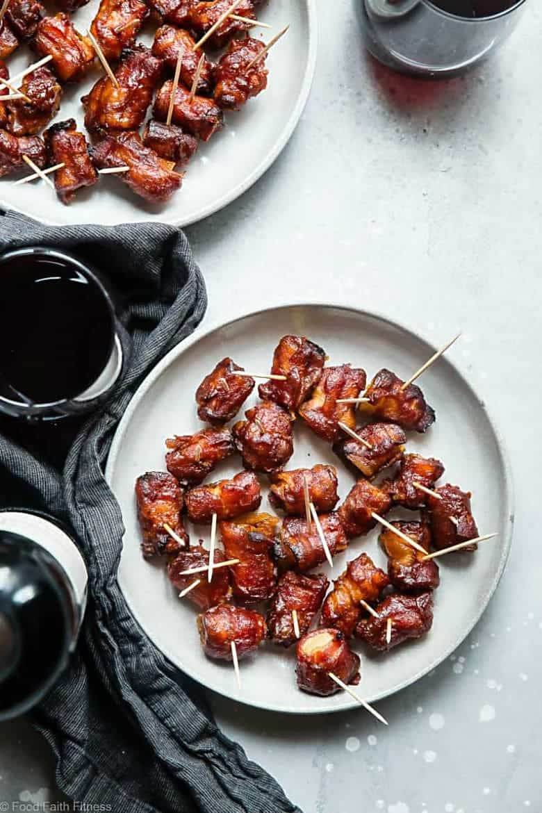 Bacon Wrapped Pineapple Bites with Sweet and Sour Sauce