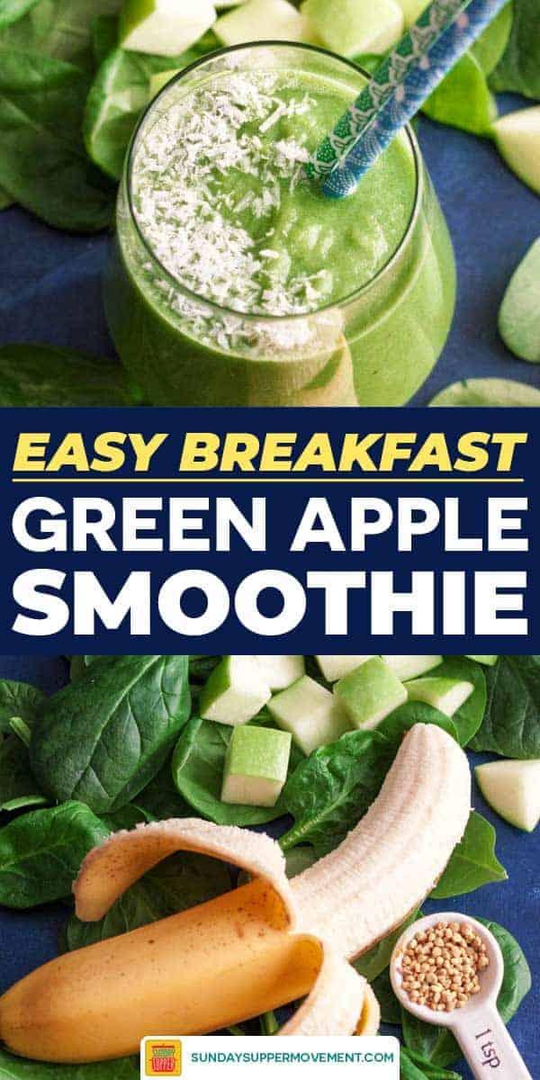 Green apple smoothie pin image