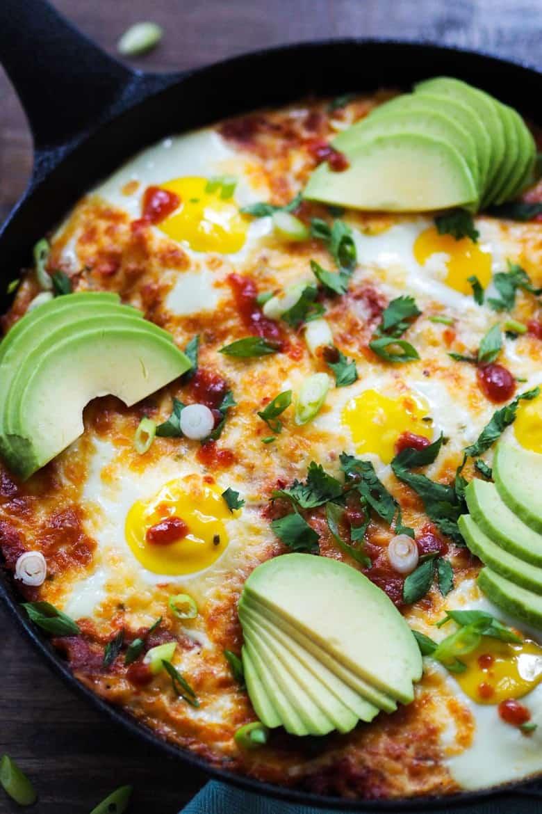Baked Eggs and Tortillas in Spicy Tomato Sauce