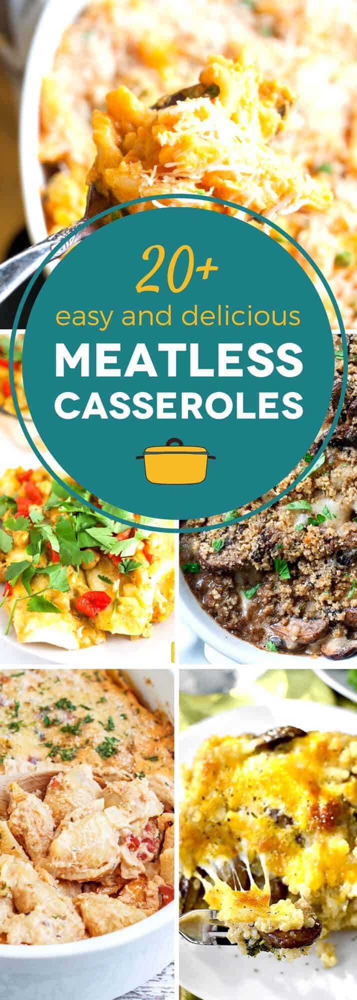 Cooking a delicious meatless meal doesn't have to be a challenge! This collection of meatless casseroles offers over 20 easy meatless recipes, perfect for Lent or Meatless Monday. From baked pasta recipes and potato skillets, to veggie enchilada casseroles, you'll find plenty of tasty meatless meals on this list! #SundaySupper #casserole #meatlessmonday #veggielove