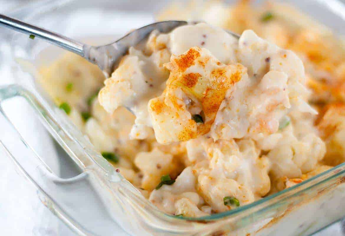 cauliflower cheese in oven proof dish
