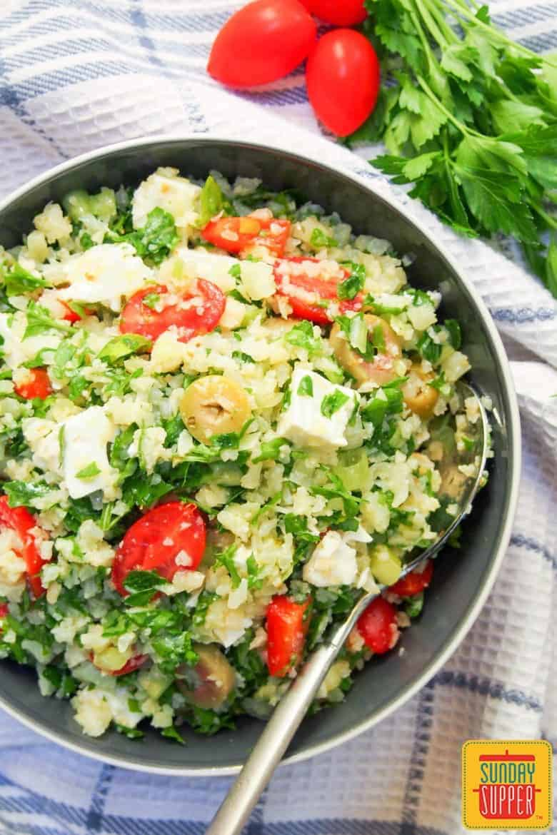Greek Style Cauliflower Rice Salad