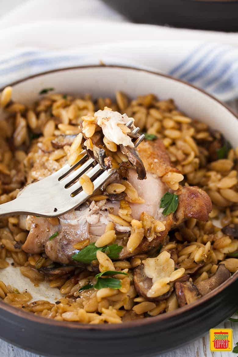 A serving bowl of One Pot Chicken Orzo Pasta with Mushrooms with a fork