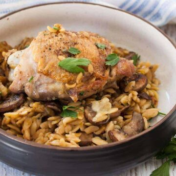 One Pot Chicken with Mushrooms and Orzo