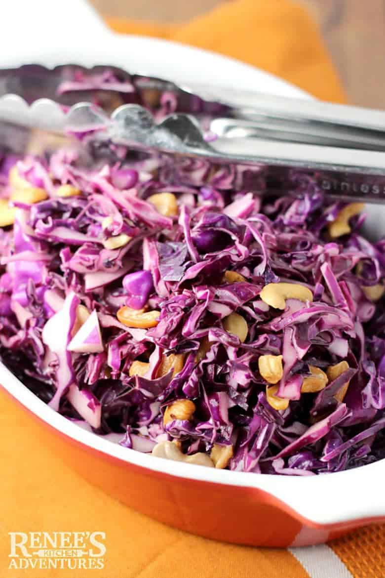 Red Cabbage Slaw with Cashews