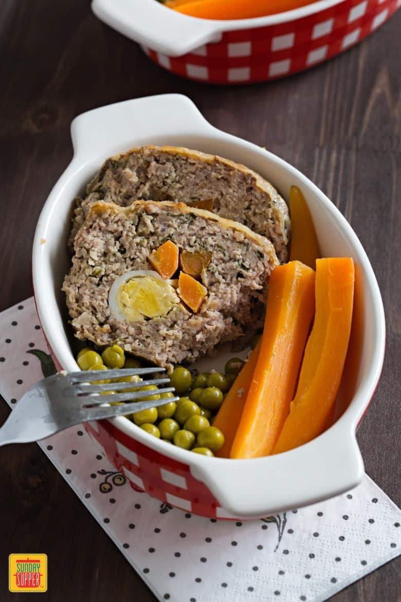 Stuffed Meat Roll with carrots and Green Peas