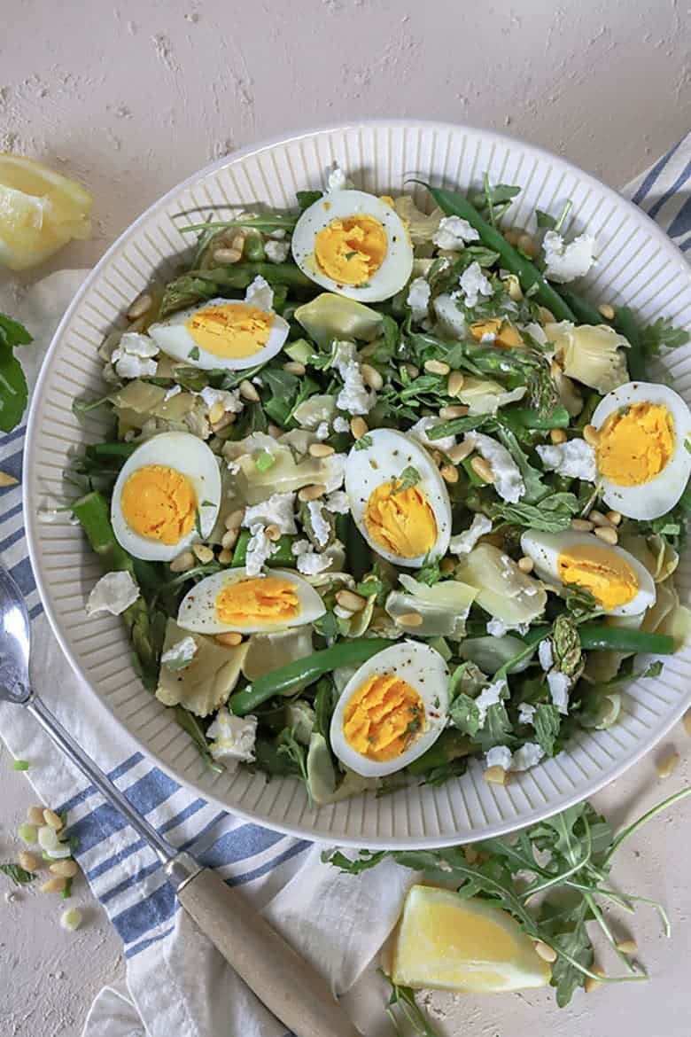 Artichoke and Bean Goat Cheese Salad