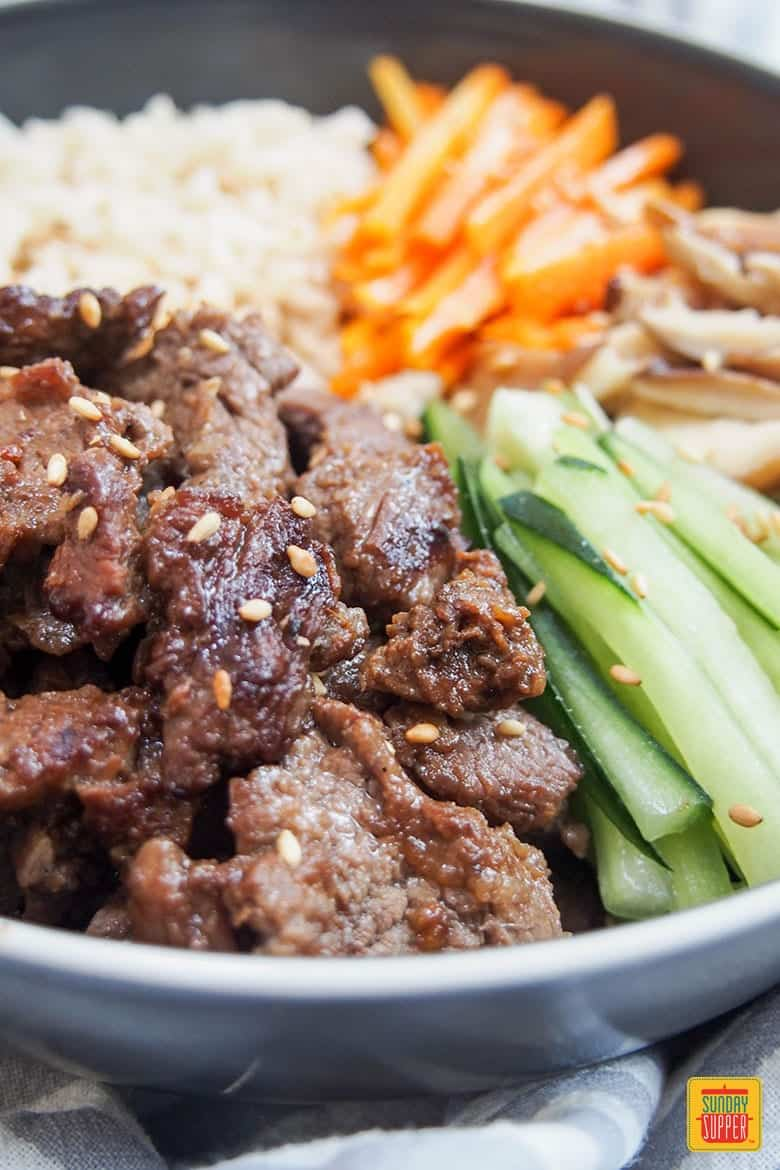 Close up of Beef bulgogi meal prep bowl ready to eat