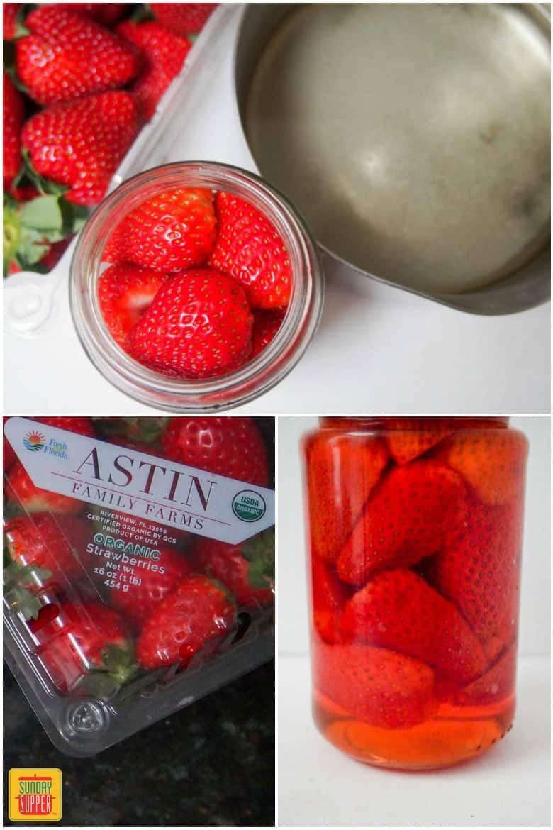 Ingredients for Pickled Strawberry Cocktail recipe