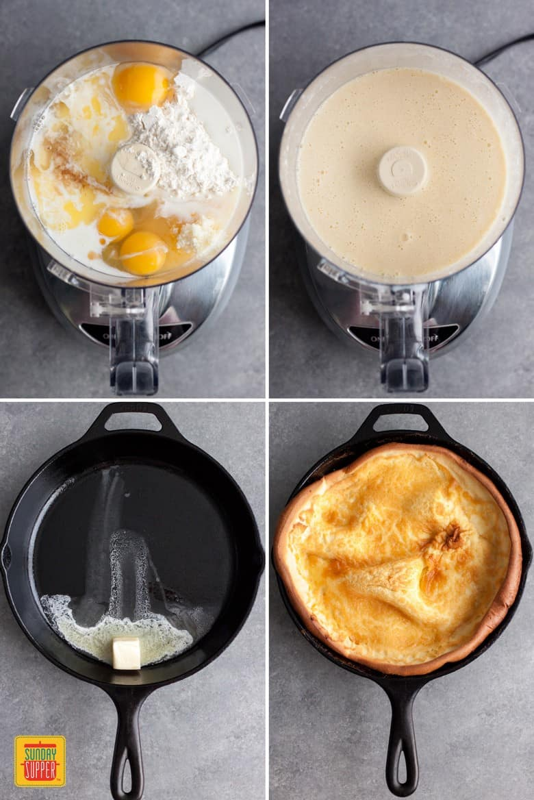 Four process shots of the dutch baby pancake: top two images mixing the batter in the food processor, bottom two images heating the butter and then making the pancake