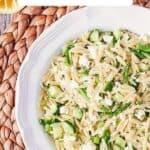 lemon orzo pasta salad pin image