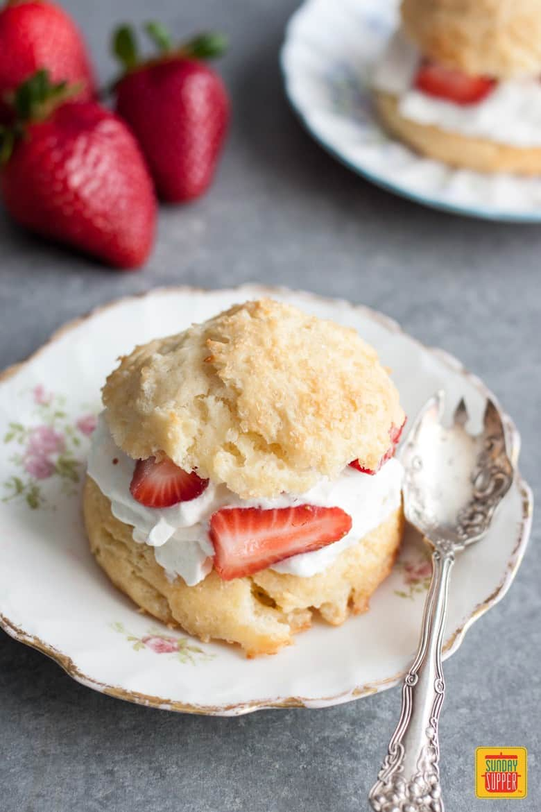 homemade strawberry shortcake biscuits on decorative plate