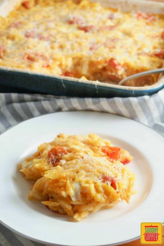 Cheesy Orzo Pasta Bake