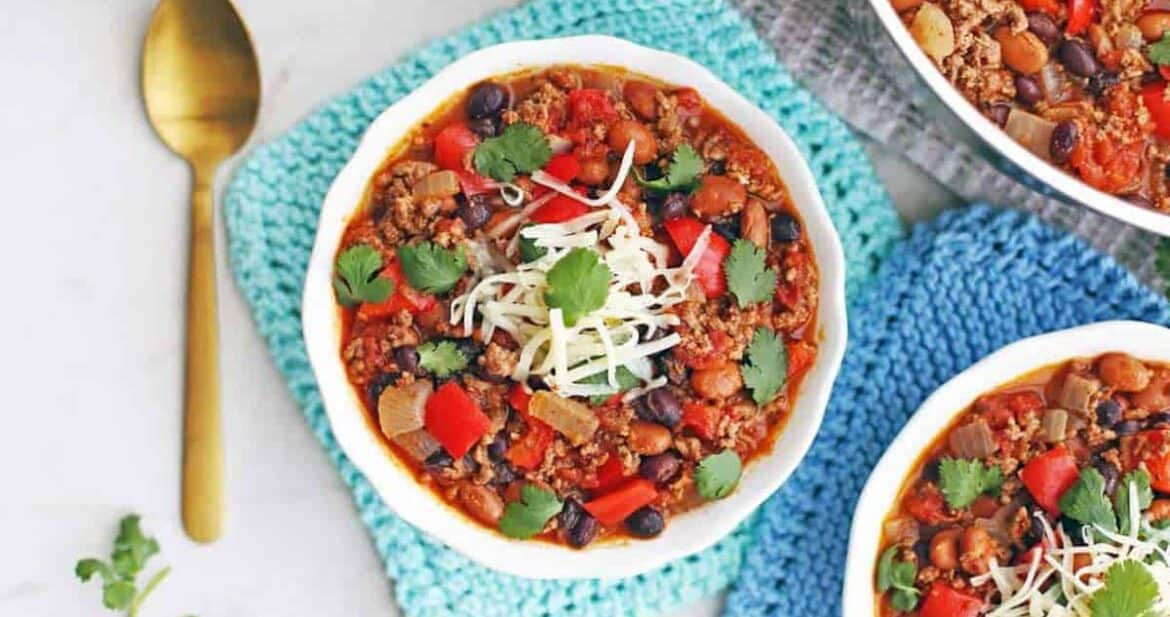 Ground beef chili recipe in a white bowl