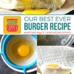 Poached Egg Burger with Caramelized Onions on Pinterest