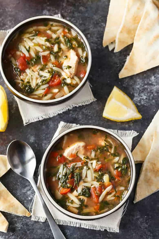 Greek Chicken Orzo Soup