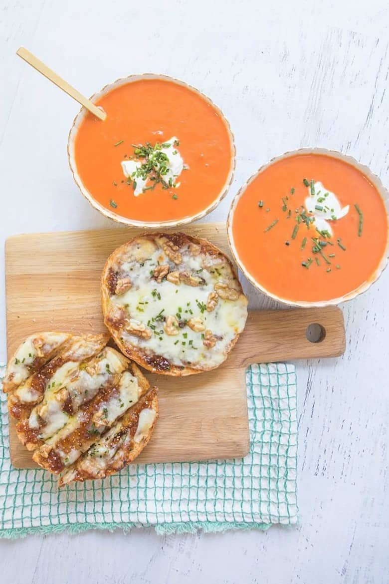 Creamy Carrot Tomato Soup with Sweet and Savory Cheesy Bread