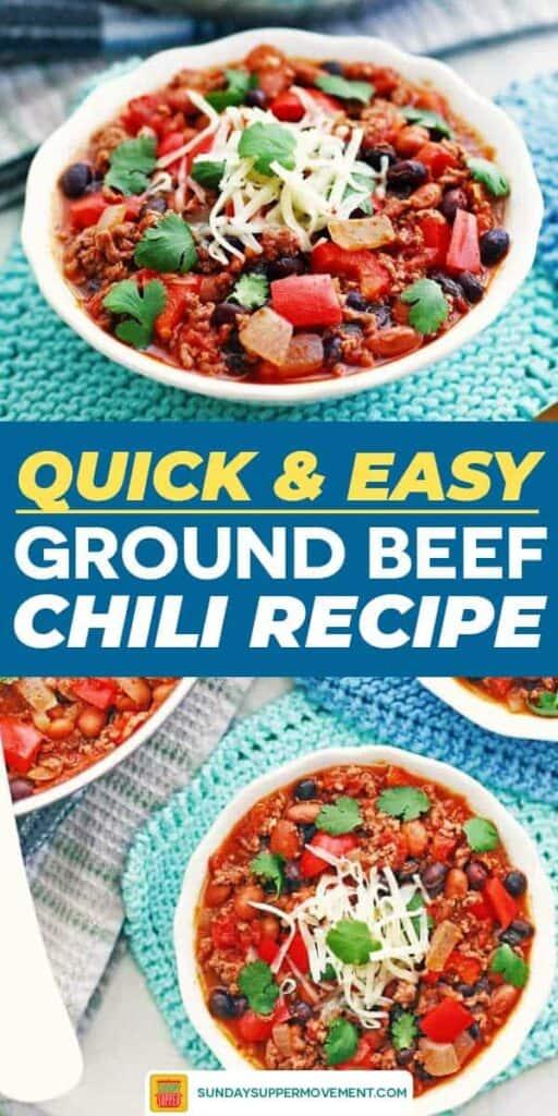 Ground beef chili recipe pin image