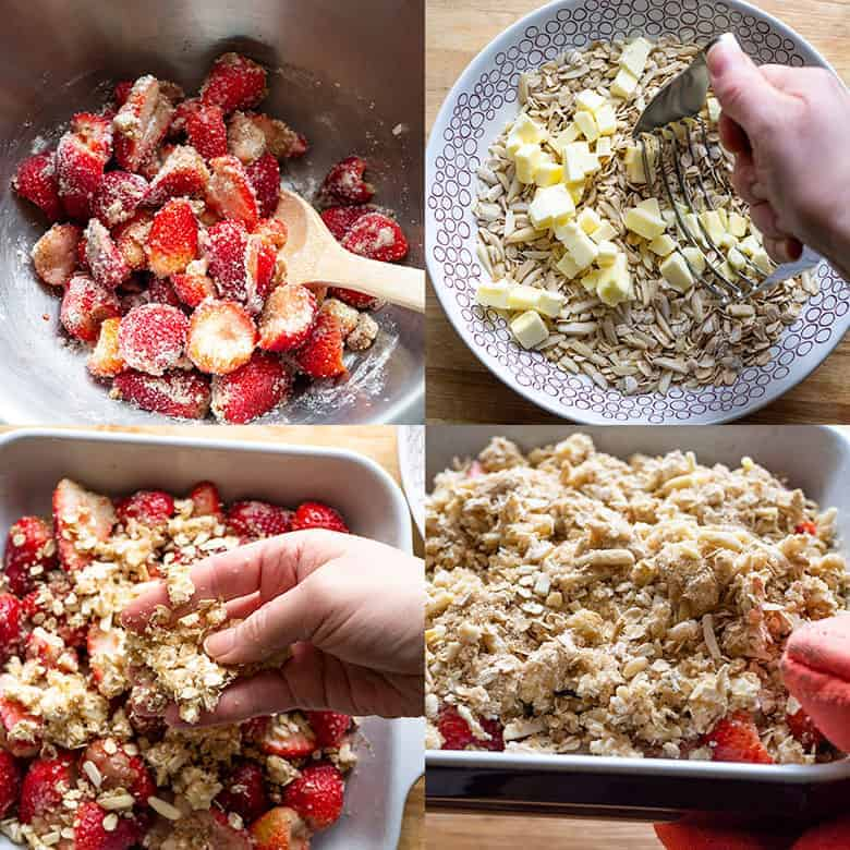 steps for making a strawberry crumble dessert