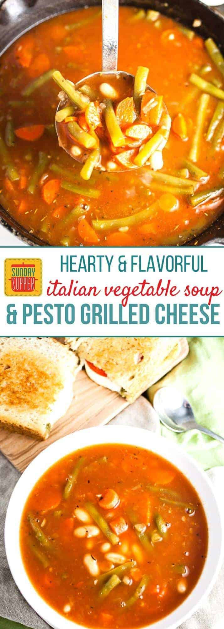 A hearty and flavorful meal that's great any time of the year! You will love how EASY ourPesto Grilled Cheese and Italian Vegetable Soup is to prepare, and the flavor combo of this grilled cheese and soup pairing will quickly become a family fave! The PERFECT lunch meal, weekday supper, or even a casual Sunday Supper. #SundaySupper #WeekdaySupper #GrilledCheese #VegetableSoup #EasyRecipe #lunchrecipe
