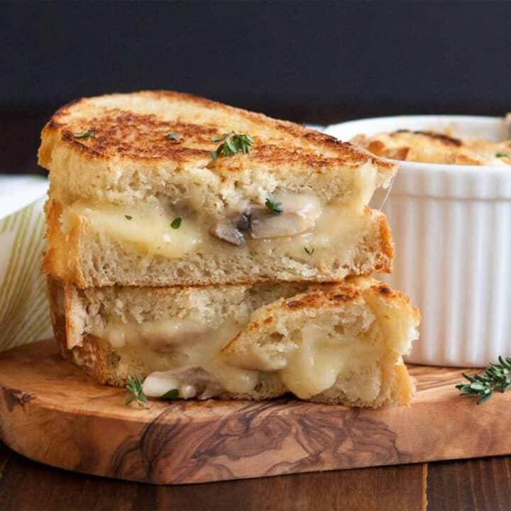Mushroom Grilled Cheese and French Onion Soup