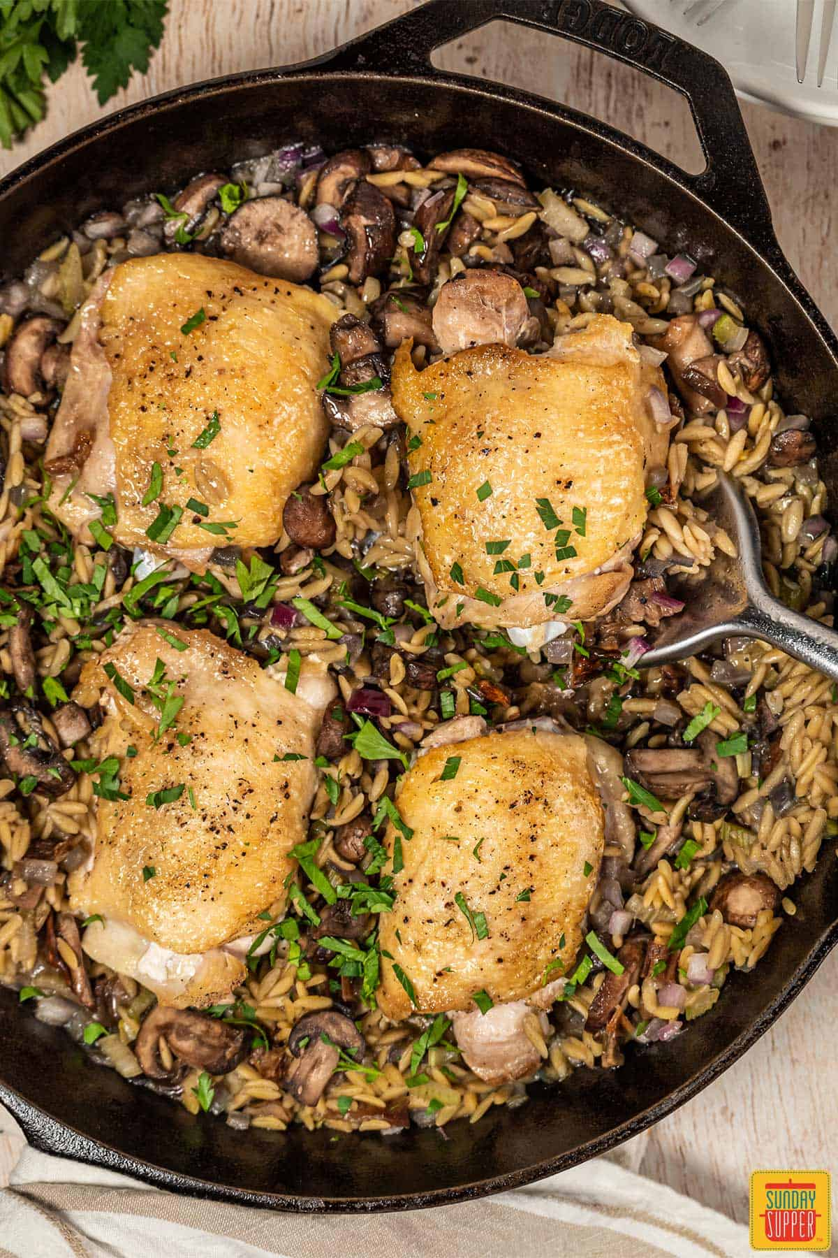 close up of one pot chicken orzo pasta in black skillet with herbs