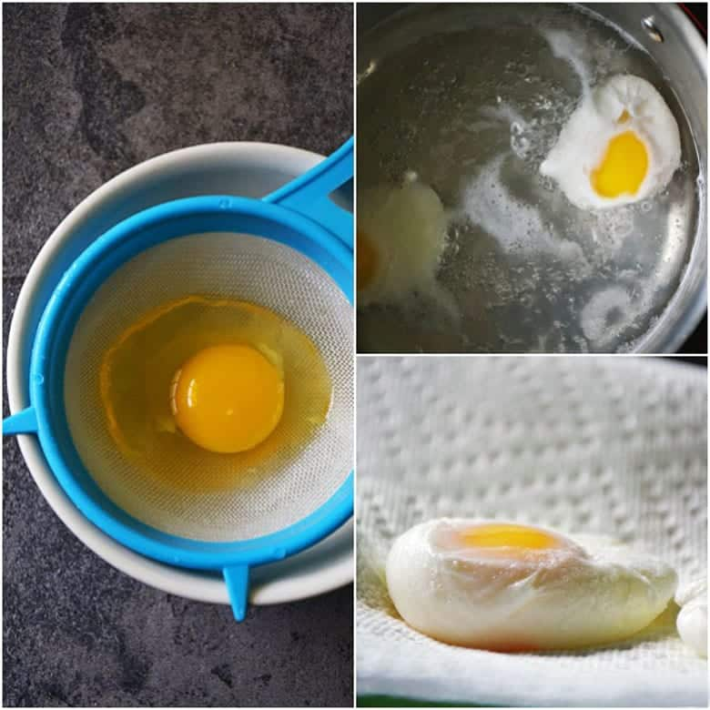 Collage of photos showing how to drain the egg through a sieve into a bowl, poaching the egg in water, and drying poached egg on paper towel