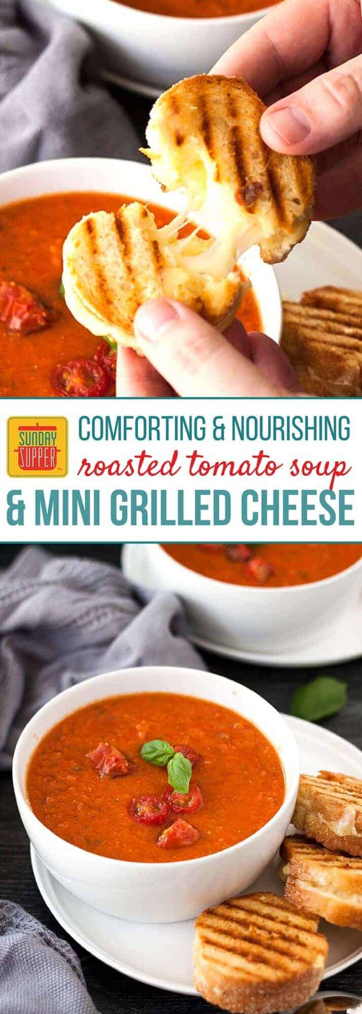 Grilled Cheese and Tomato Soup is classic COMFORT FOOD! Fresh ingredients maximize flavor and the mini grilled cheese sandwiches are the CUTEST ever! You can't go wrong with this classic combo! It makes the PERFECT lunch meal, weekday supper, or even a casual dinner with family when you gather for Sunday Supper. #SundaySupper #GrilledCheese #TomatoSoup #EasyRecipe #SoupandSandwich
