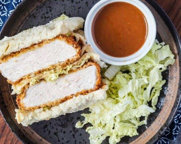 katsu sandy with napa cabbage and katsu sauce