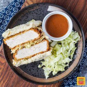 Katsu Sando with napa cabbage and katsu sauce
