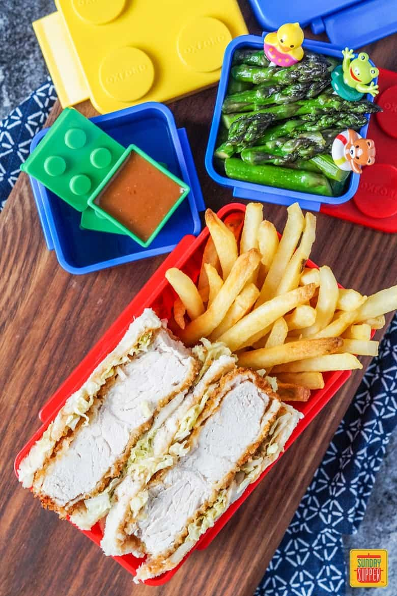 Katsu Sando Bento with Fries and Asparagus