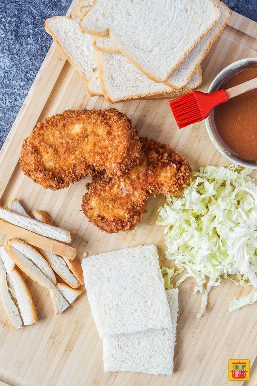 Katsu Sando Prep with Tonkatsu, Bread, Napa Cabbage, and Katsu Sauce