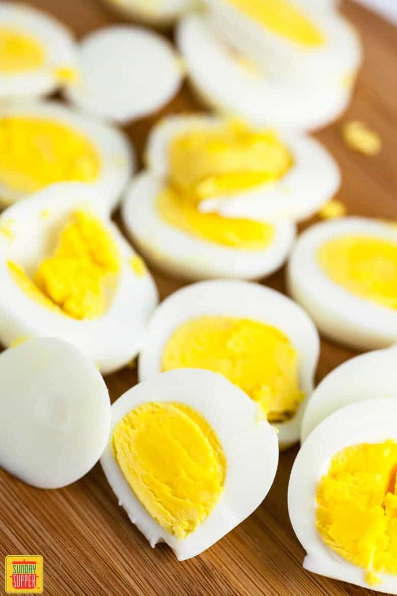 Chopped hard boiled eggs for spanish potato salad