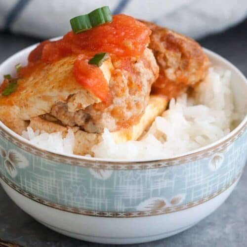 Vietnamese Stuffed Tofu in Tomato Sauce is a simple dish, made with just 5 ingredients. And you can have a delicious home cook dinner ready in just an hour. #SundaySupper