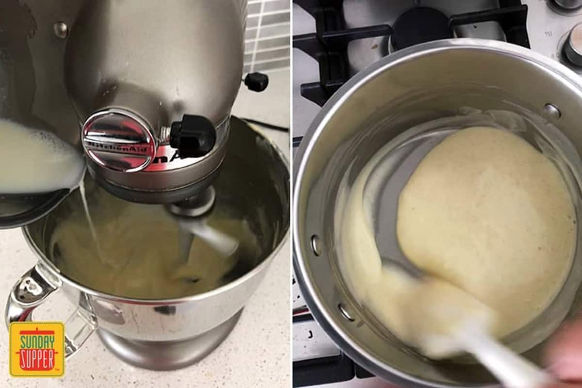Mixing the custard in a mixing bowl and showing the thickness of the custard in the saucepan after heating