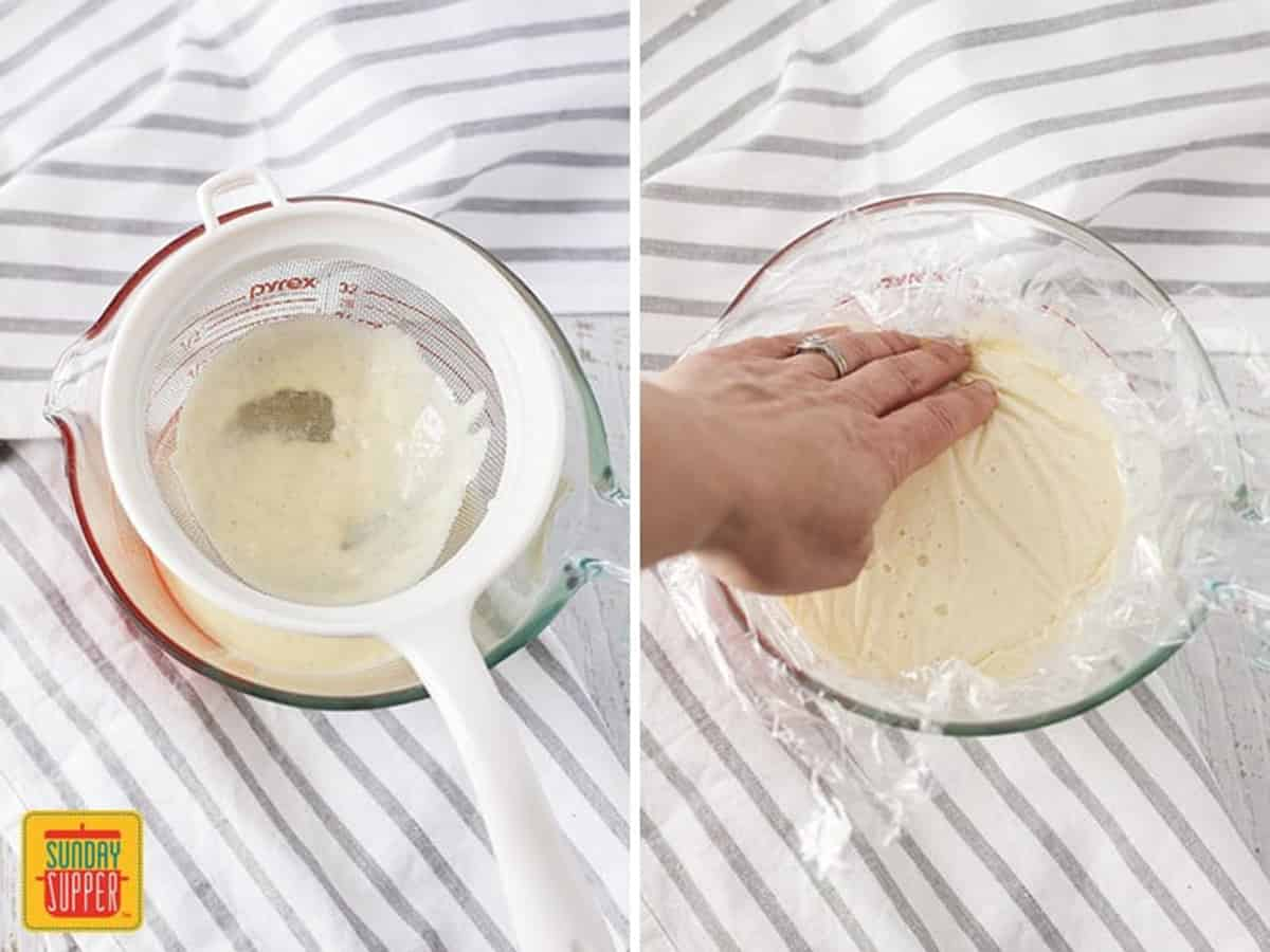 Straining the custard and covering it to cool in the refrigerator