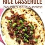 cauliflower rice casserole pin image