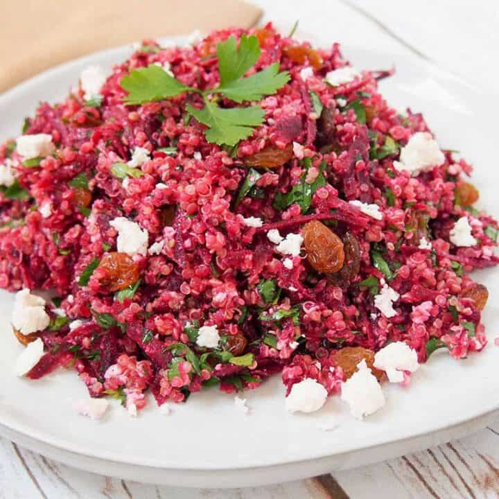 raw beet quinoa salad