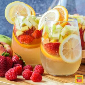 Moscato Sangria in a glass