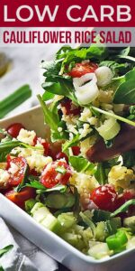 Save Greek Cauliflower Rice Salad on Pinterest for later!