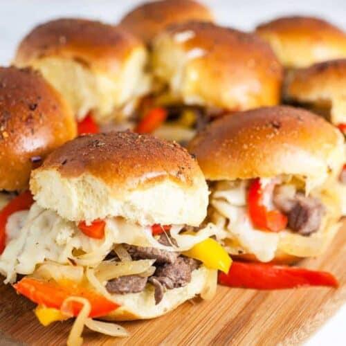 Baked Philly Cheese Steak Sliders #SundaySupper