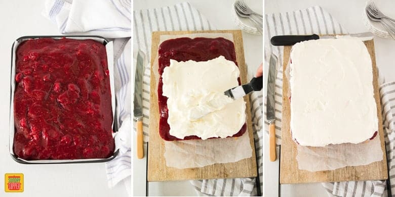 Raspberry Lemon Jello Poke Cake topping with jam and whipped cream