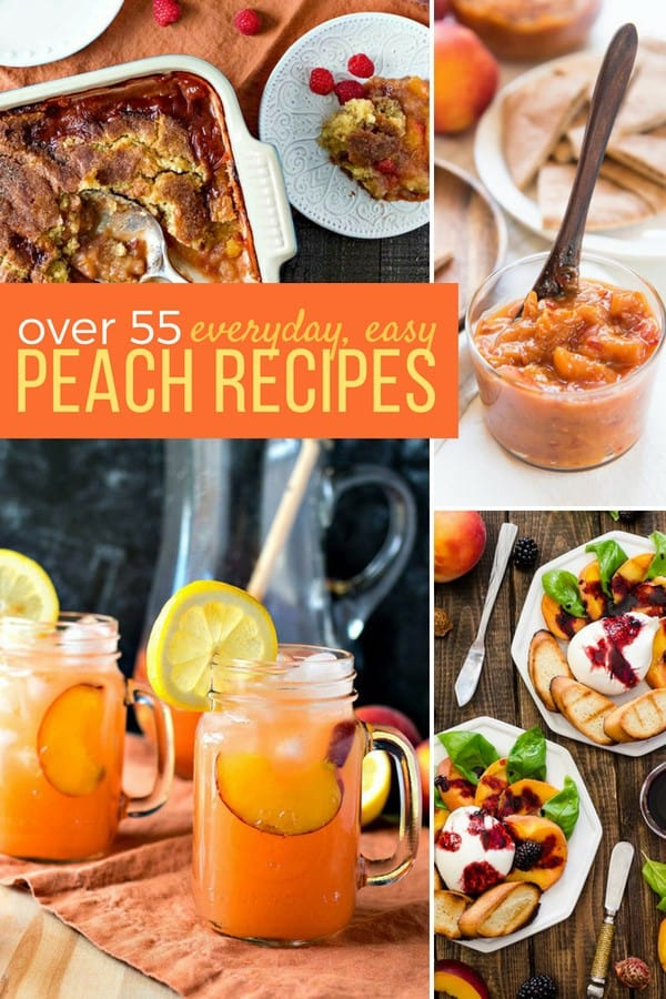We've got you covered with our favorite everyday EASY PEACH RECIPES, whether you're looking for breakfast, lunch, dinner, or dessert recipes using peaches! Everything you wanted to know about peaches PLUS OVER 55 EASY PEACH RECIPES so you can enjoy peaches year round! #SundaySupper #peach #peachrecipes #recipecollection #fruit #easyrecipes
