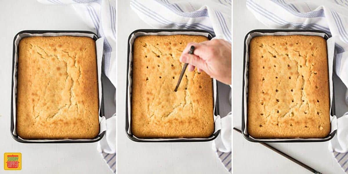 Step-by-step images showing how to poke holes in the jello poke cake