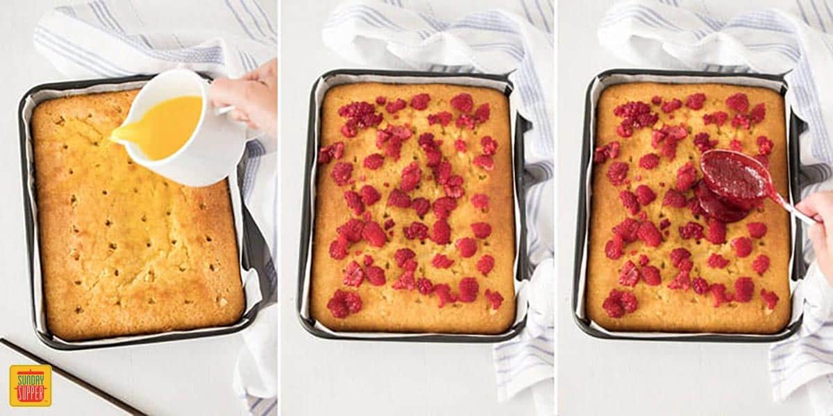 Step-by-step images showing how to fill the holes of a lemon jello poke cake