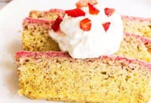 Low Carb Cake with Strawberry Glaze