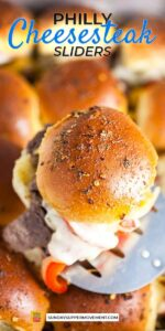 Save Philly Cheesesteak Sliders on Pinterest for later!