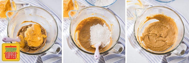 Pumpkin Cupcake Recipe - Mixing wet and dry ingredients