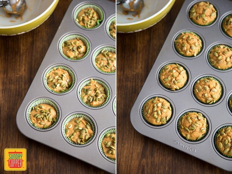 Easy pumpkin muffins before and after baking in muffin tray