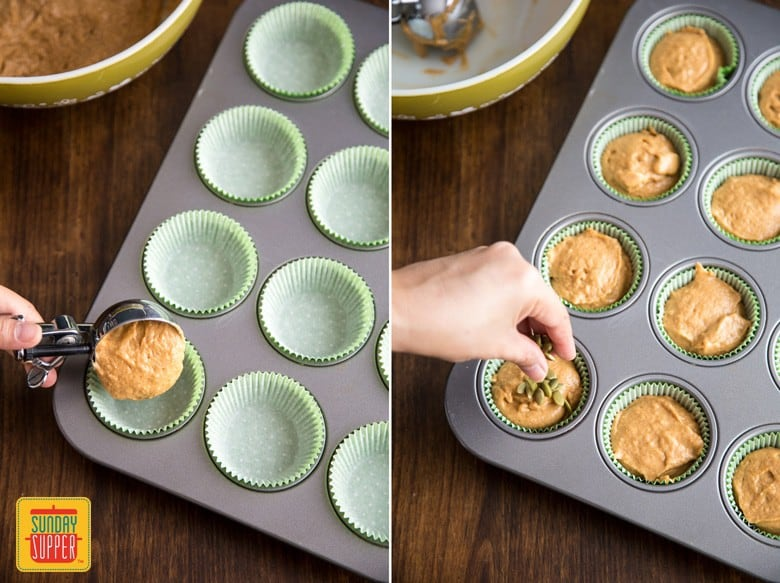 Preparing the easy pumpkin muffins by dishing out the batter into muffin molds, then topping with pepitas
